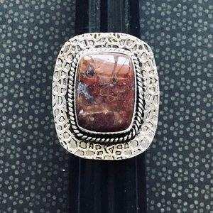 Red Jasper Gemstone Ring Square Cut